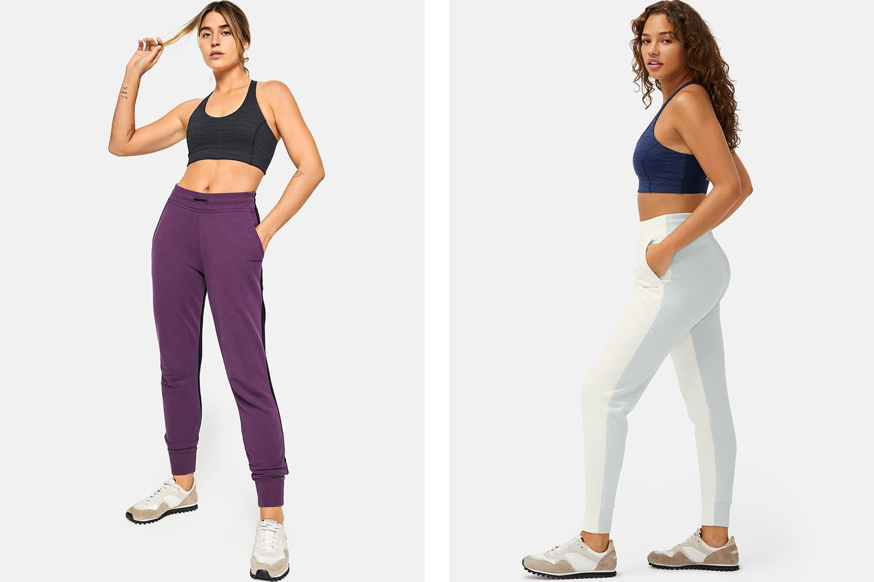 Women wearing purple and white and blue joggers