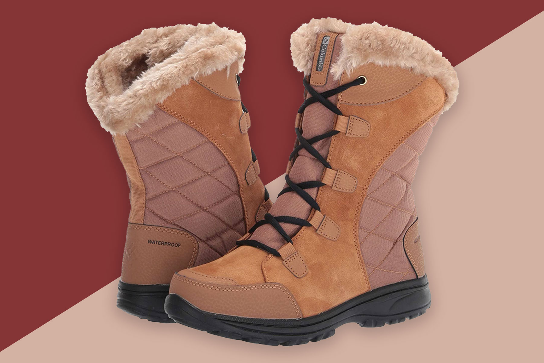 Chestnut suede and quilted snow boots