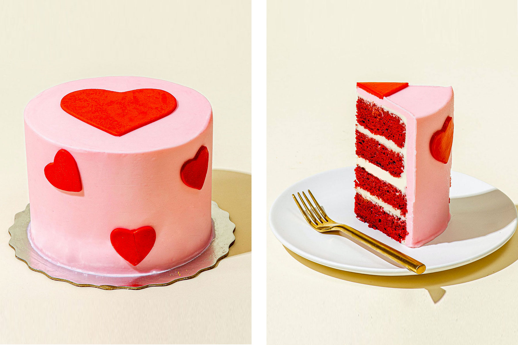 Pink and red heart cake