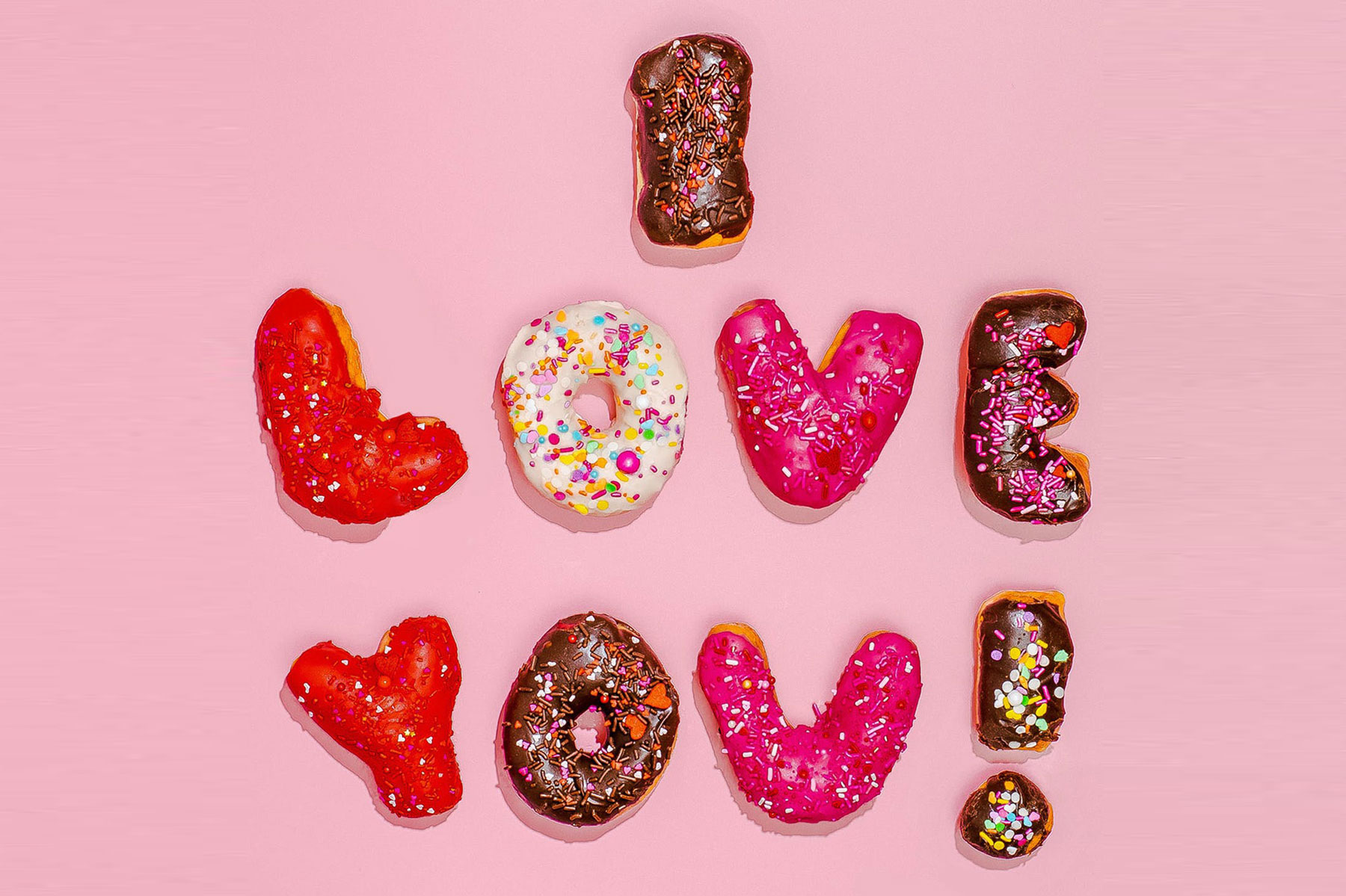 """Donuts that spell out """"I love you"""""""