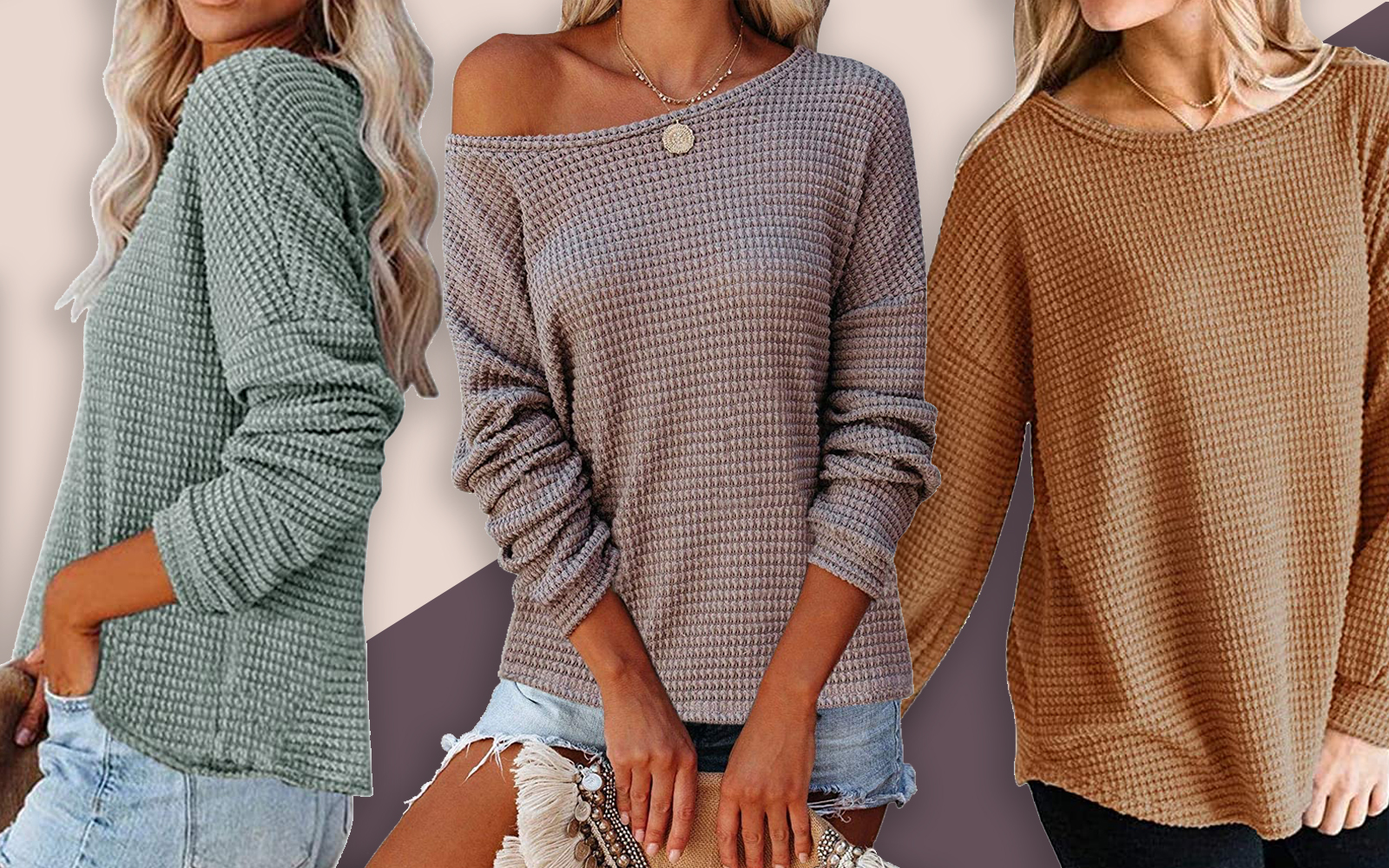 waffle knit sweater amazon