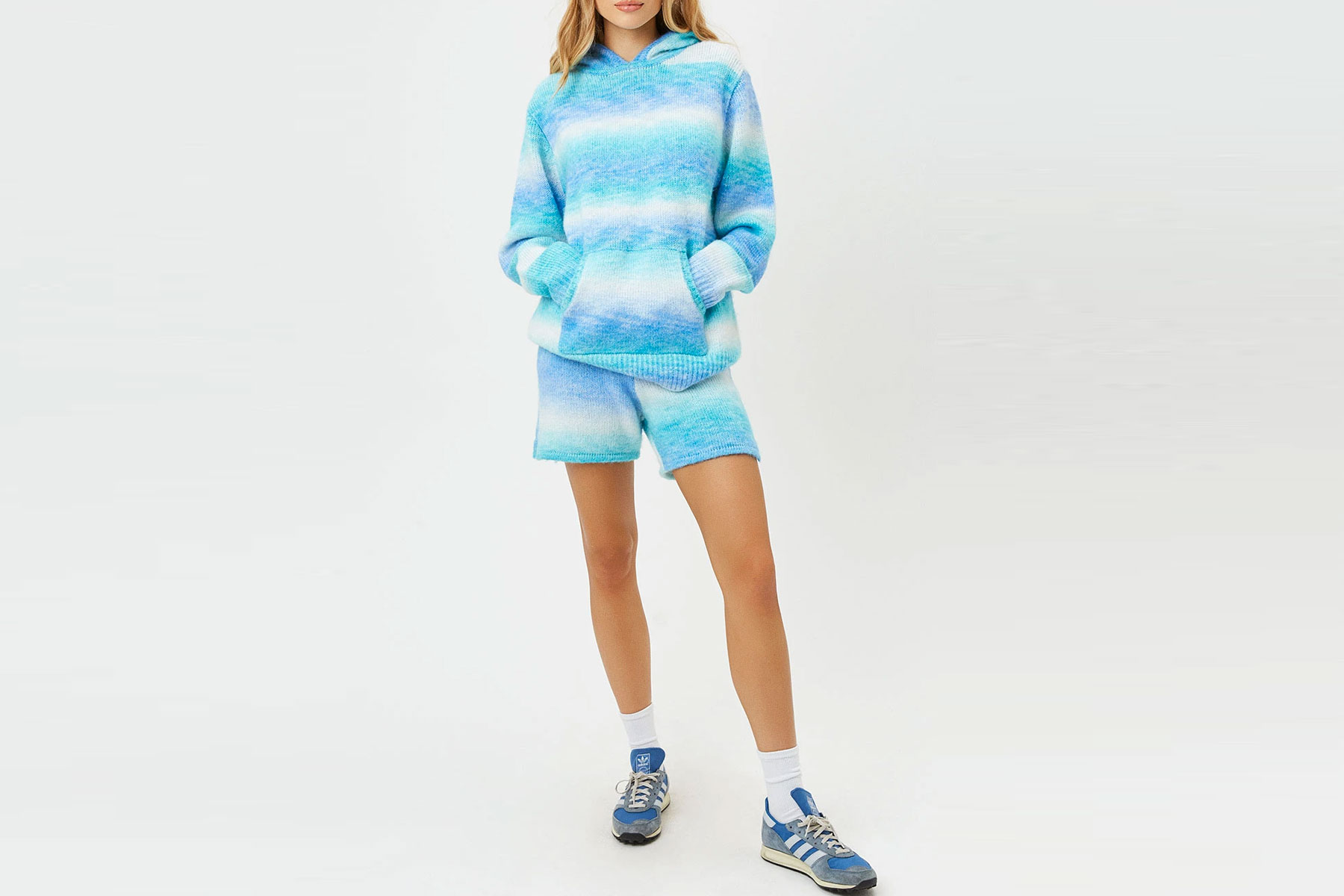 Blue ombre sweatshirt and sweat shorts