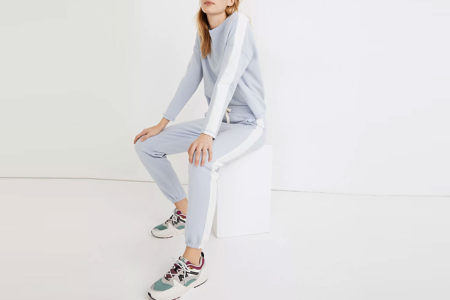 Blue and white striped sweatsuit