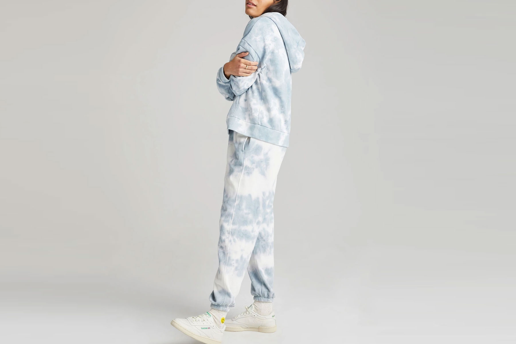 Blue and white tie-dye sweatsuit