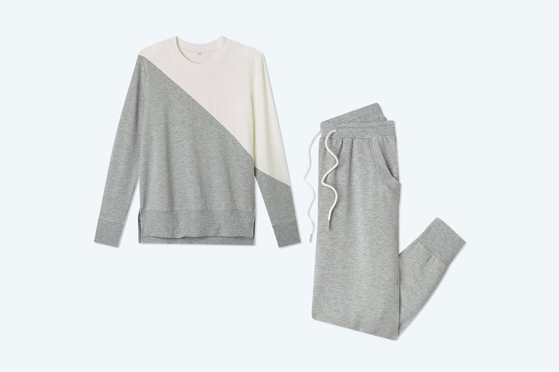 White and grey sweatsuit