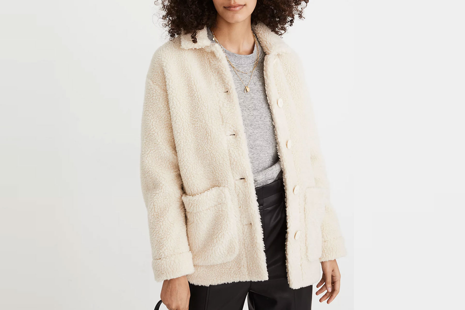 Cream colored sherpa collared jacket