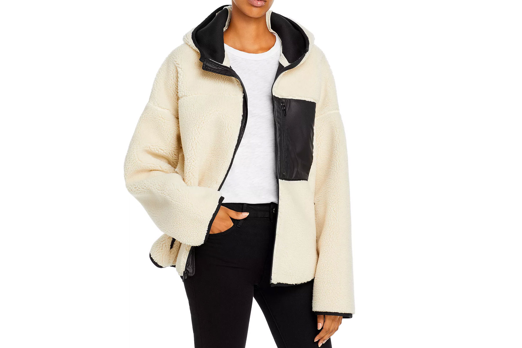 Cream and black sherpa hooded jacket