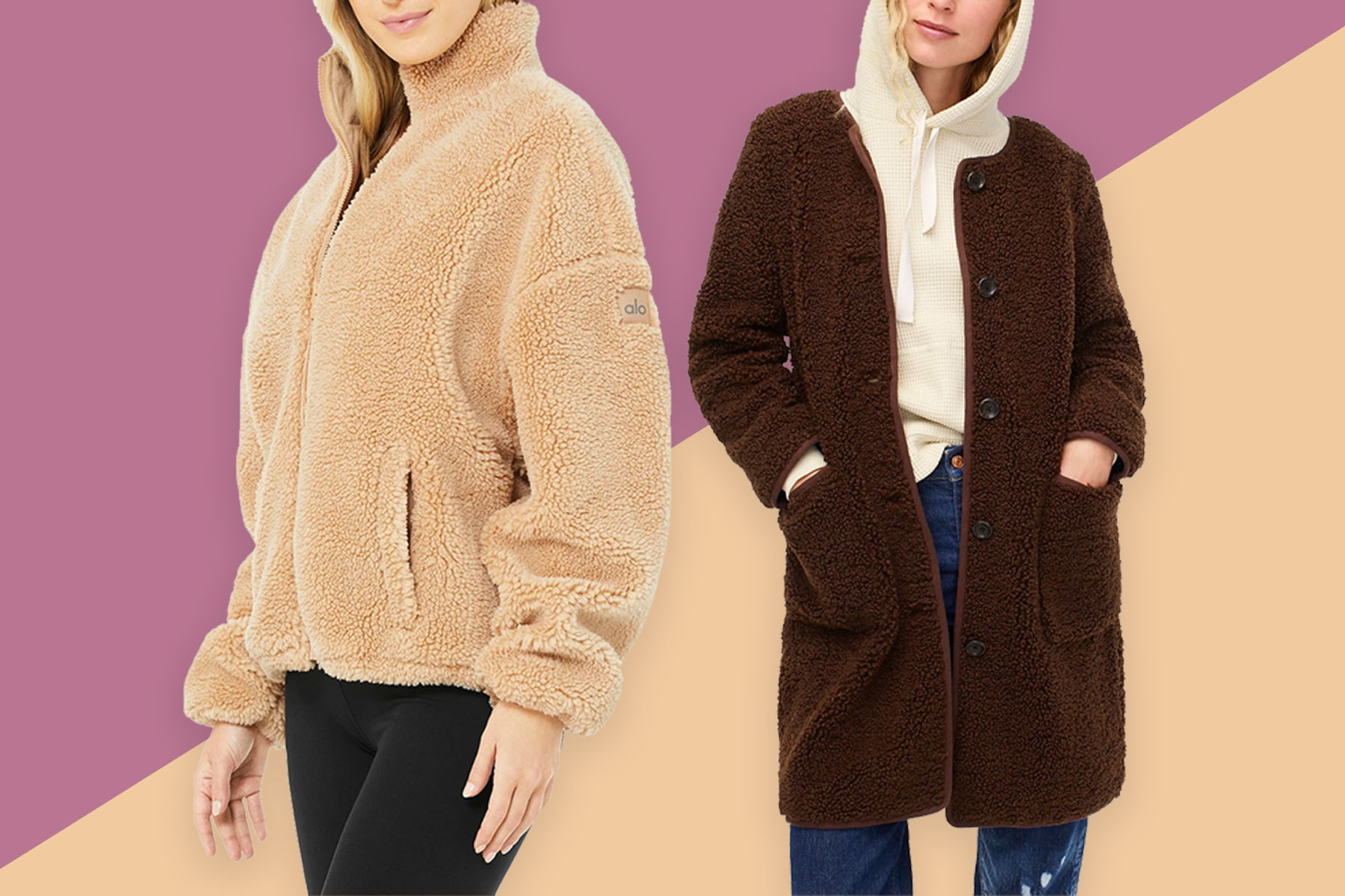 Women wearing camel and brown sherpa jackets