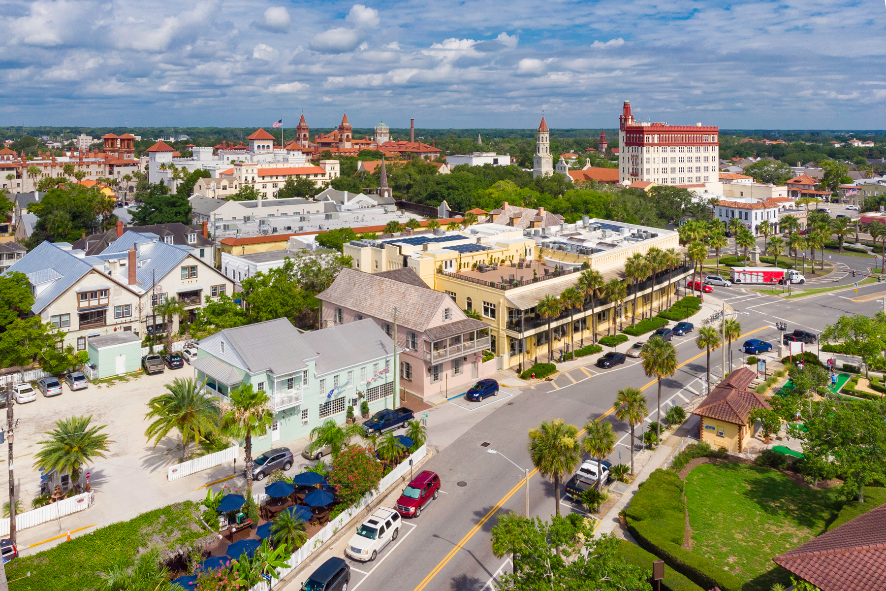 Aerial drone view of historic St. Augustine, Florida.