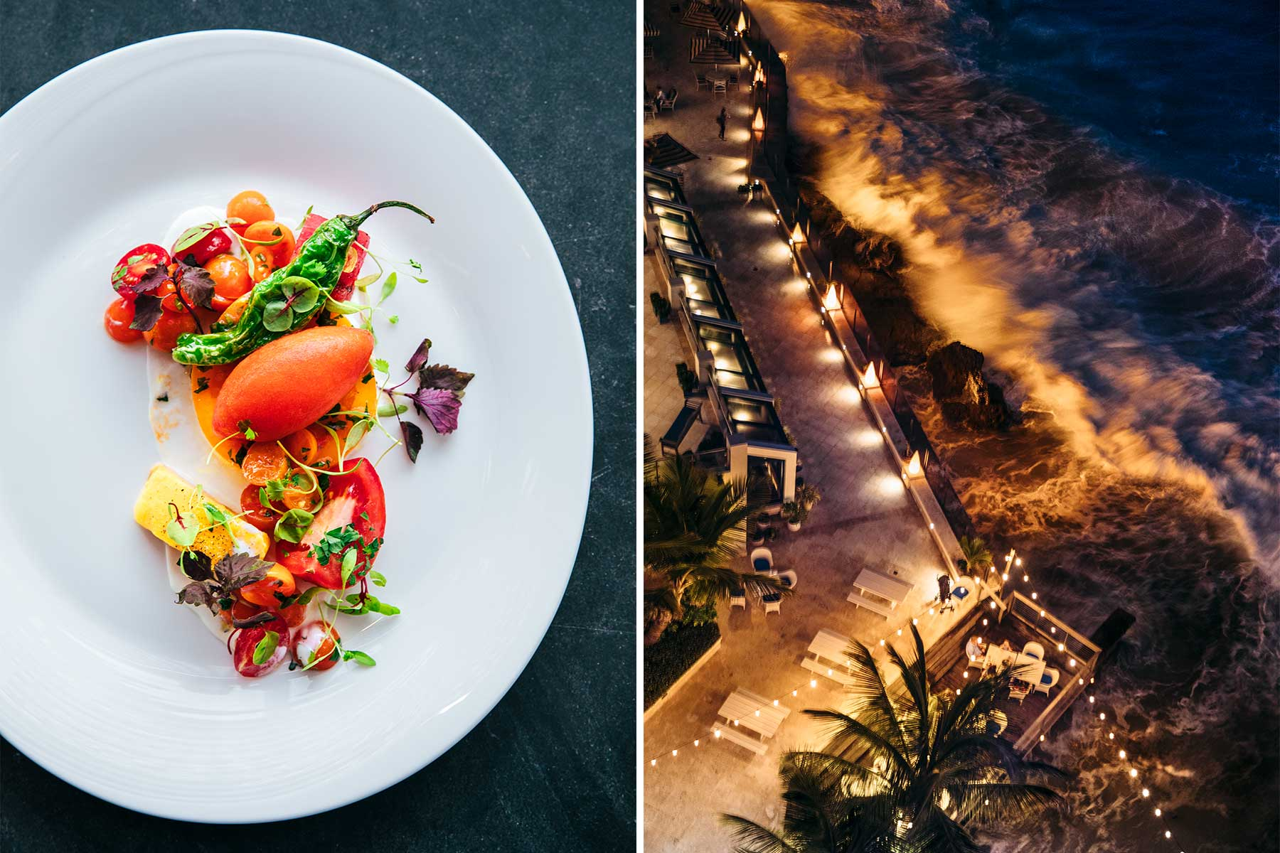 Two photos from Puerto Rico. One shows a refined tomato and mango dish, and the other shows an overhead night view of a waterfront terrace with waves crashing