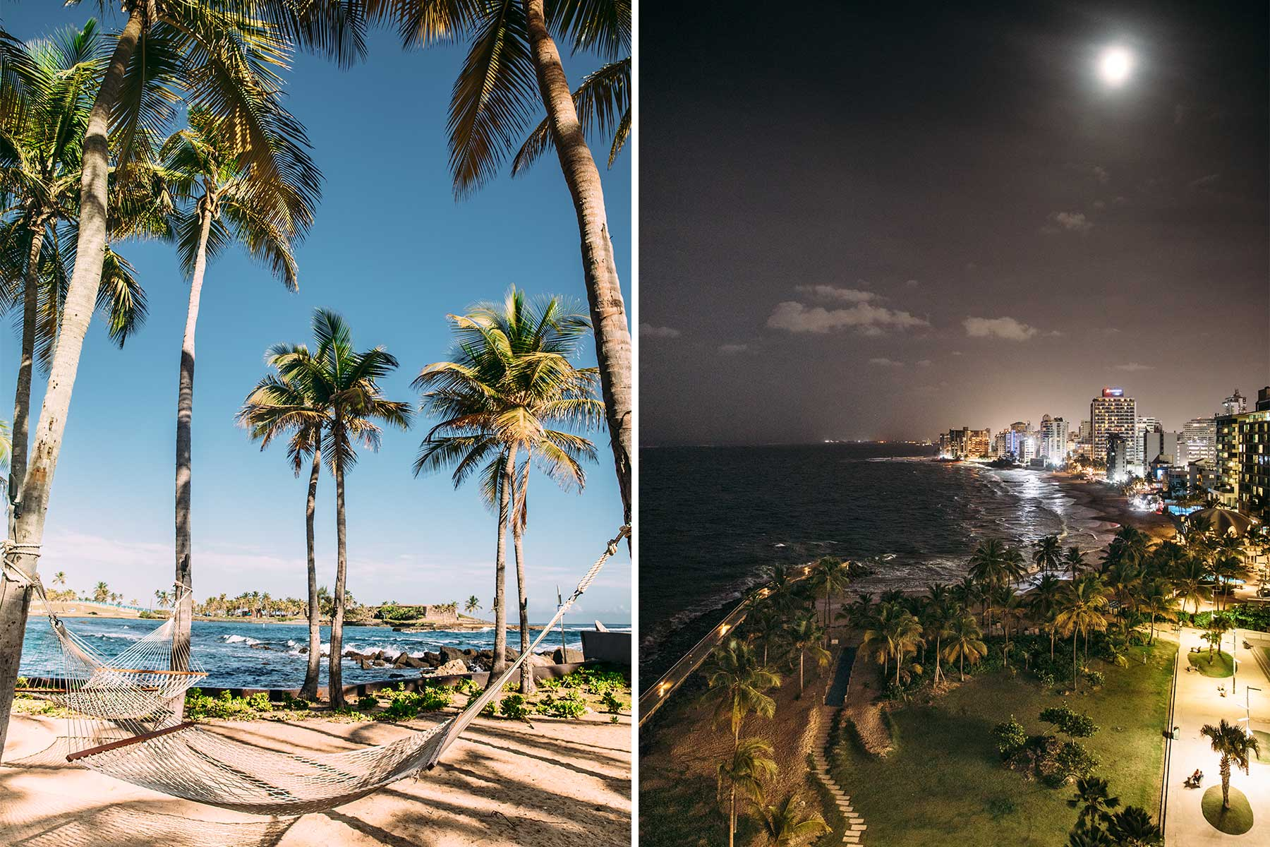 Two photos from Puerto Rico. One shows a hammock at the beach at the Hilton Caribe hotel, and the other shows a night view of San Juan.