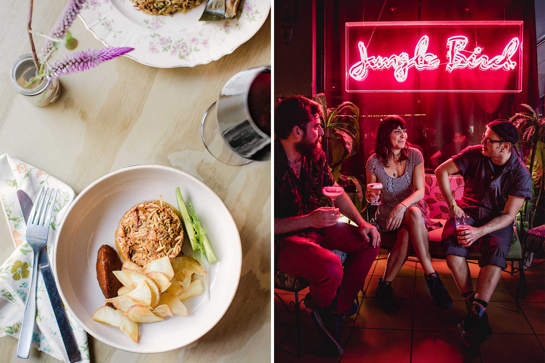 Two photos from Puerto Rico. One shows a dish of young herring, and the other shows friends at the neon-lit Jungle Bird cocktail bar