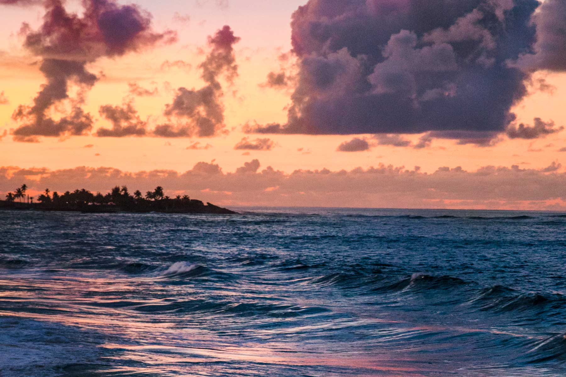 Colorful sunset over the beach in Puerto Rico