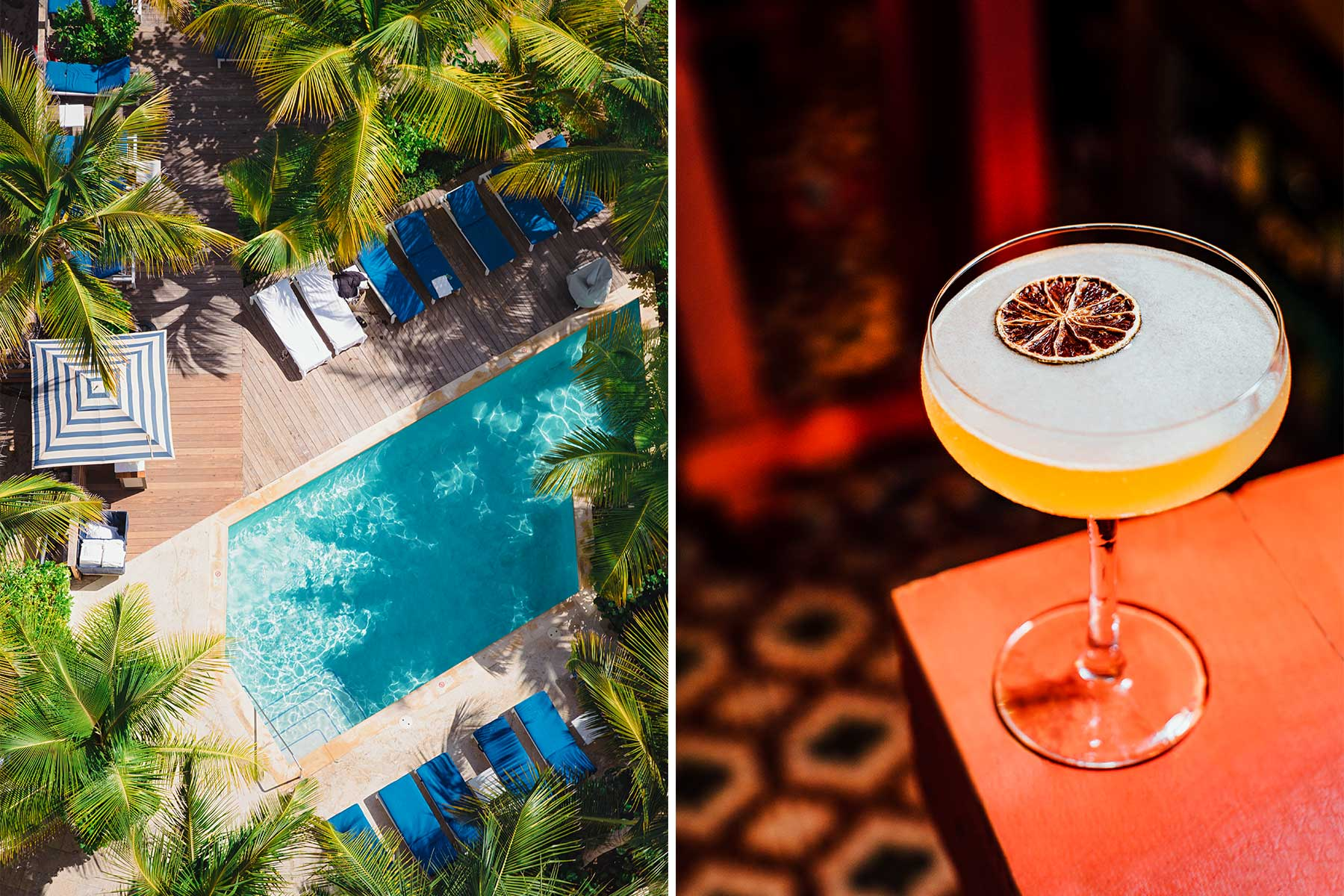 Two photos from Puerto Rico. One shows the pool at the Condado Vanderbily hotel, and the other shows a cocktail at La Factoria bar