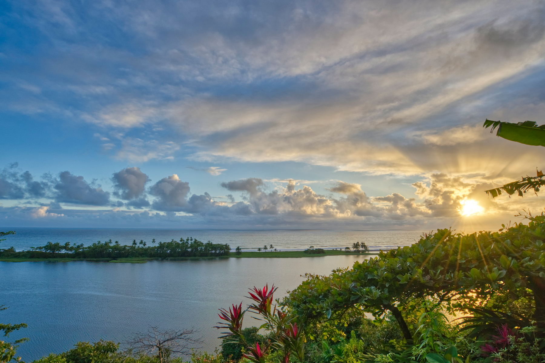 Sunset Over a Lagoon and the Pacific in Corcovado National Park on the Osa Peninsula in Costa Rica