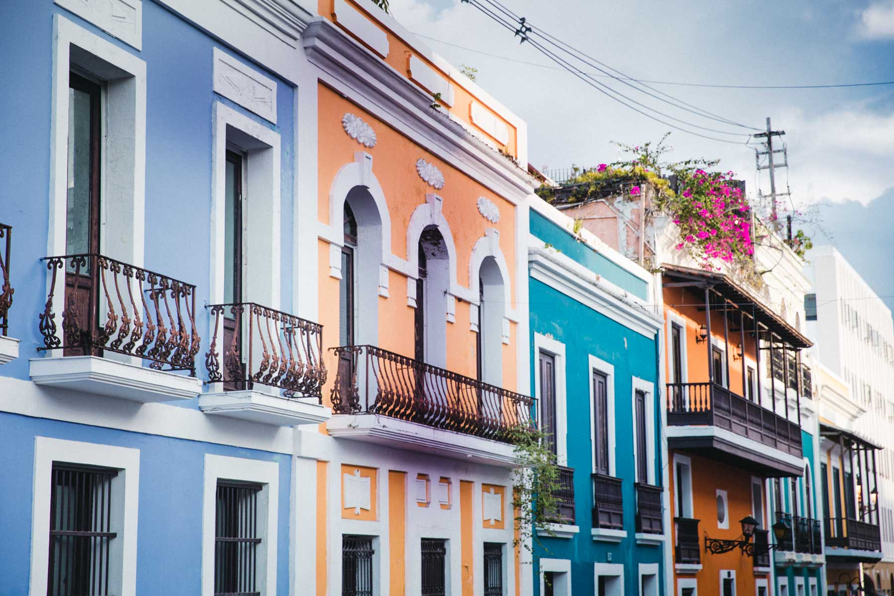 Colorful traditional buildings in Old San Juan, Puerto Rico