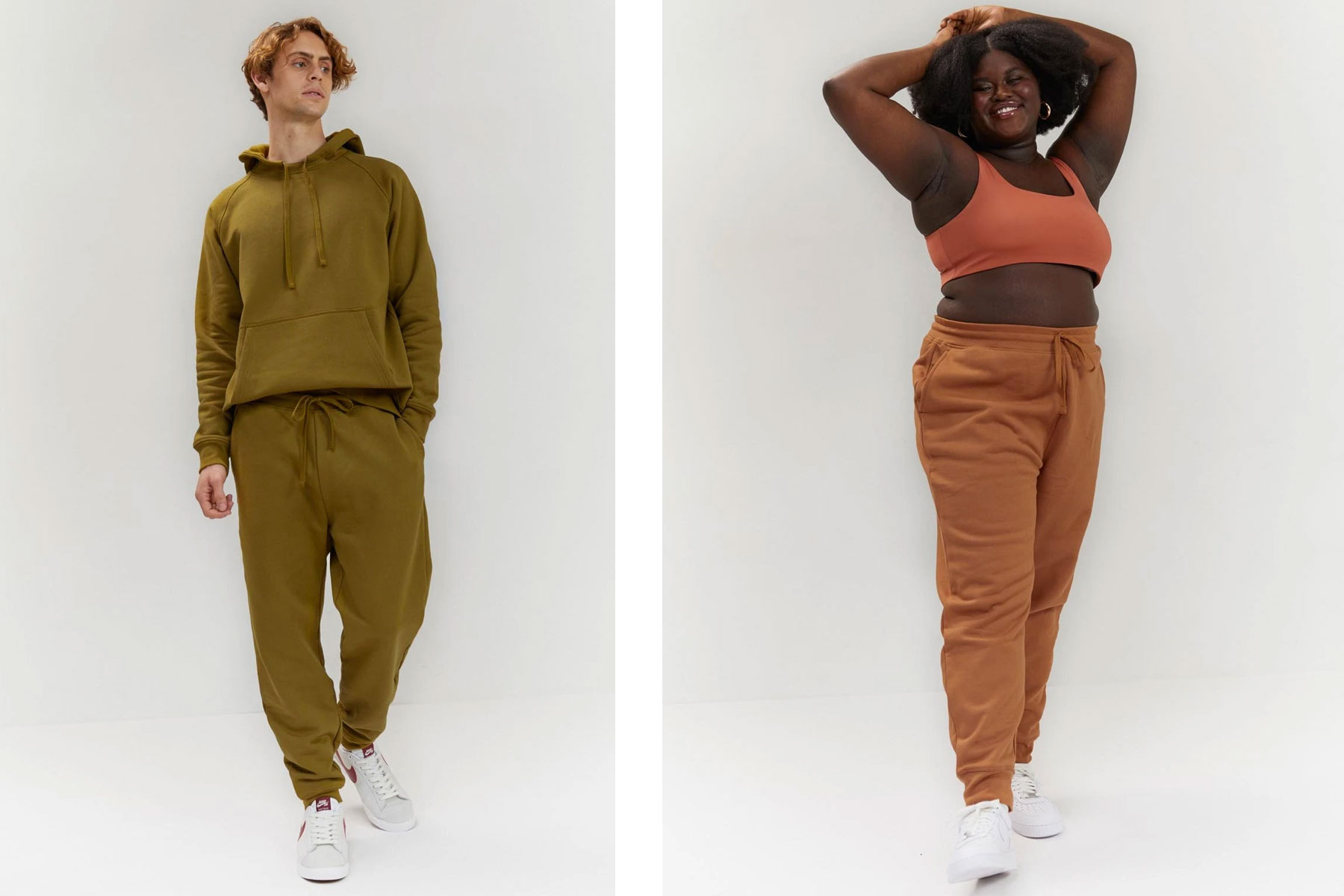 Man and woman wearing green and camel sweatpants joggers