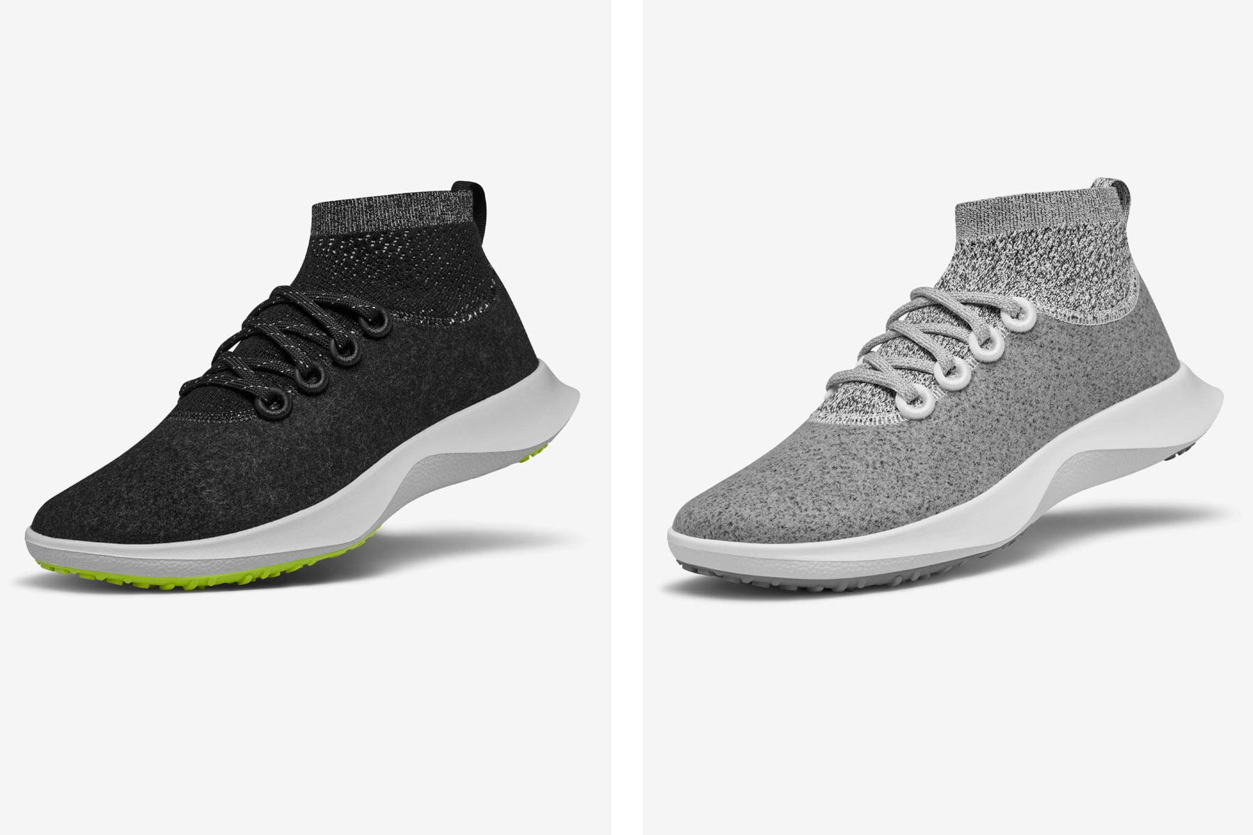 Black and grey running shoes