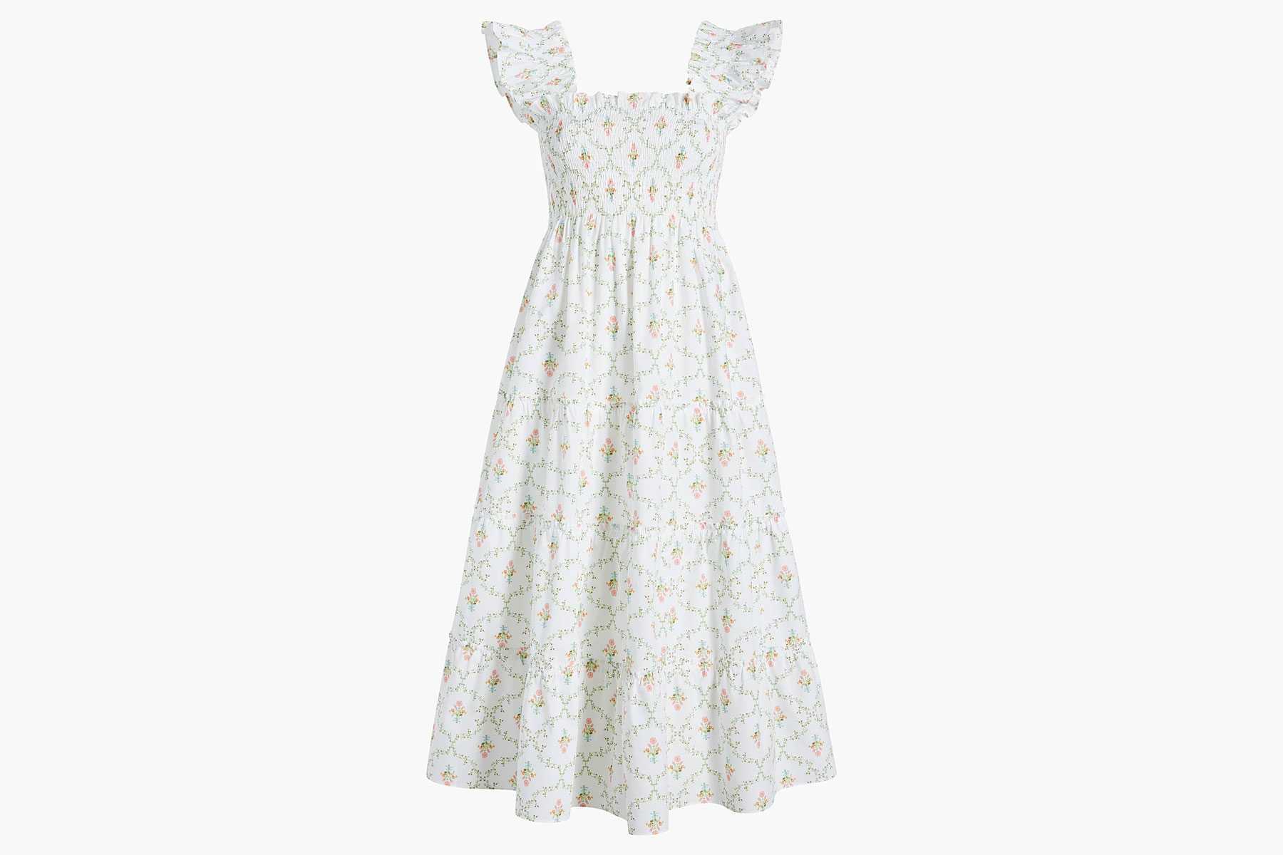 White and floral pattern maxi dress