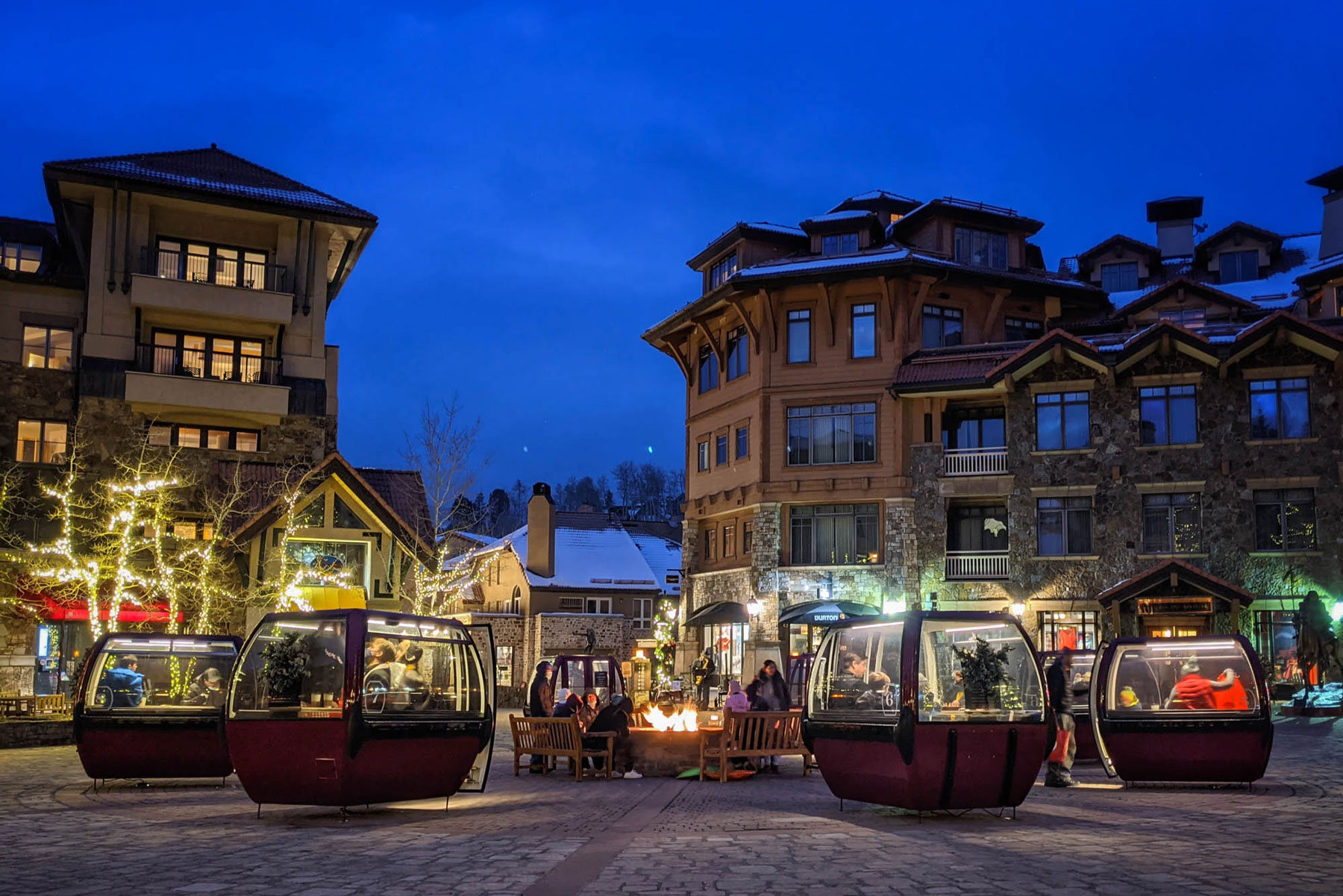 ski gondolas repurposed as private dining spaces