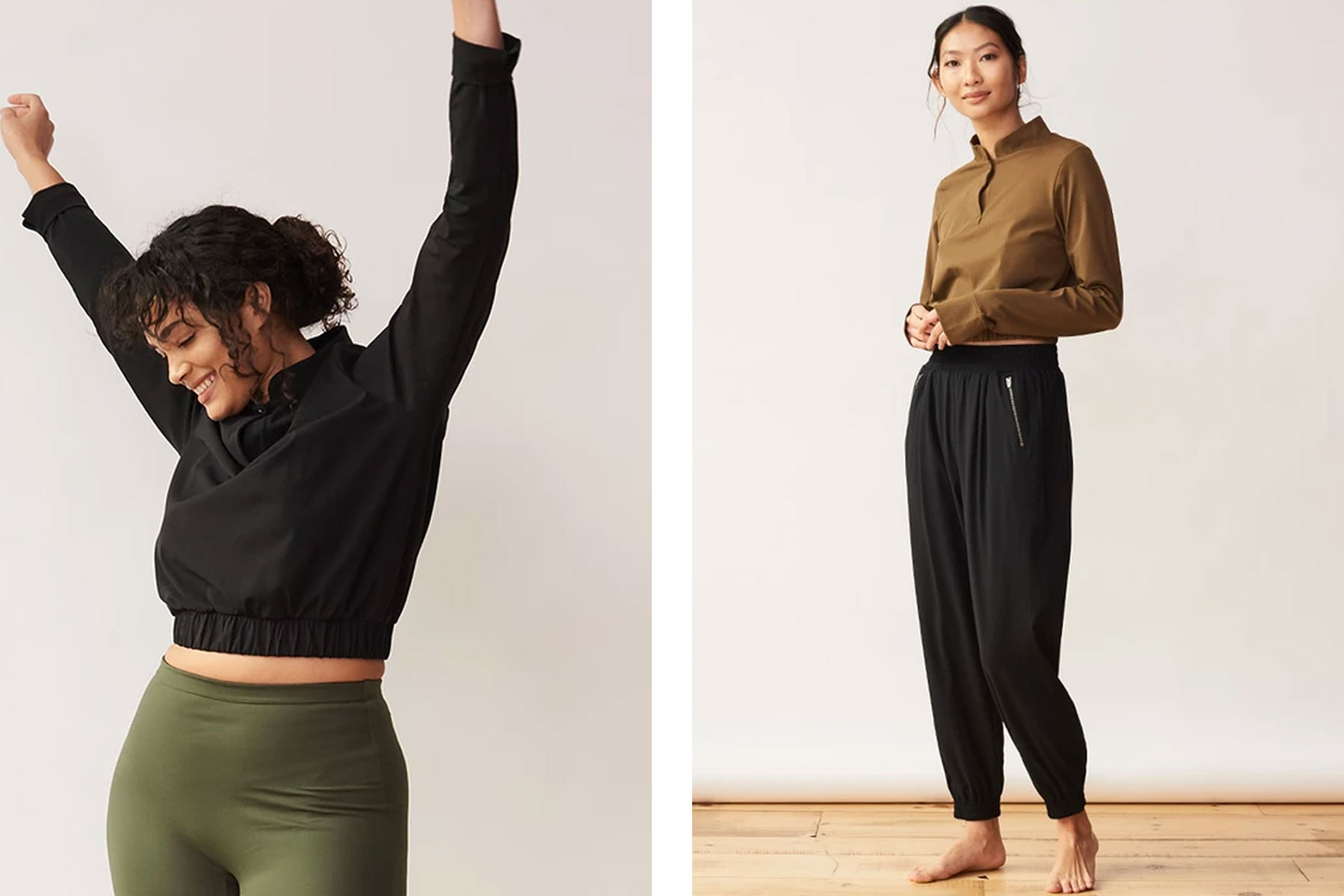 Women wearing black and olive green tracksuit