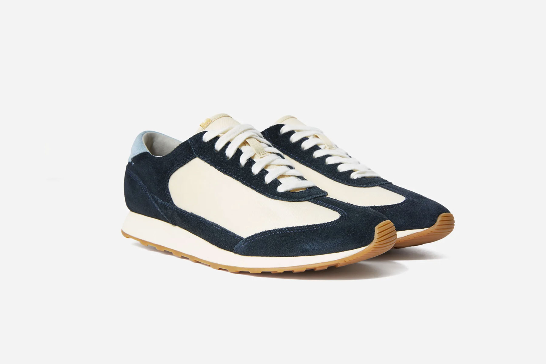 Navy and white running shoes
