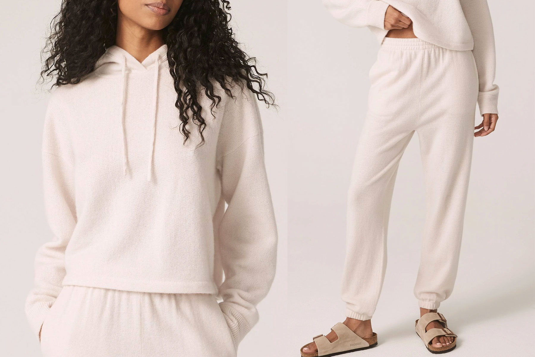 Woman wearing cream cashmere hoodie and joggers