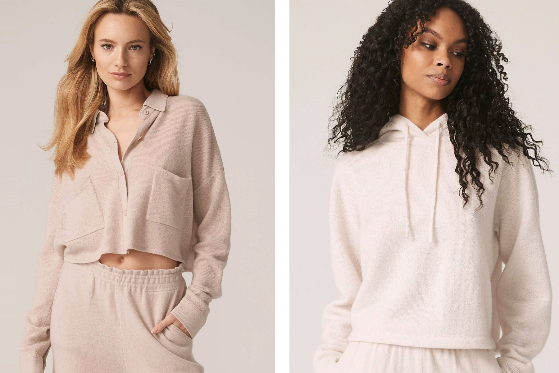 Women wearing pink and cream cashmere loungewear