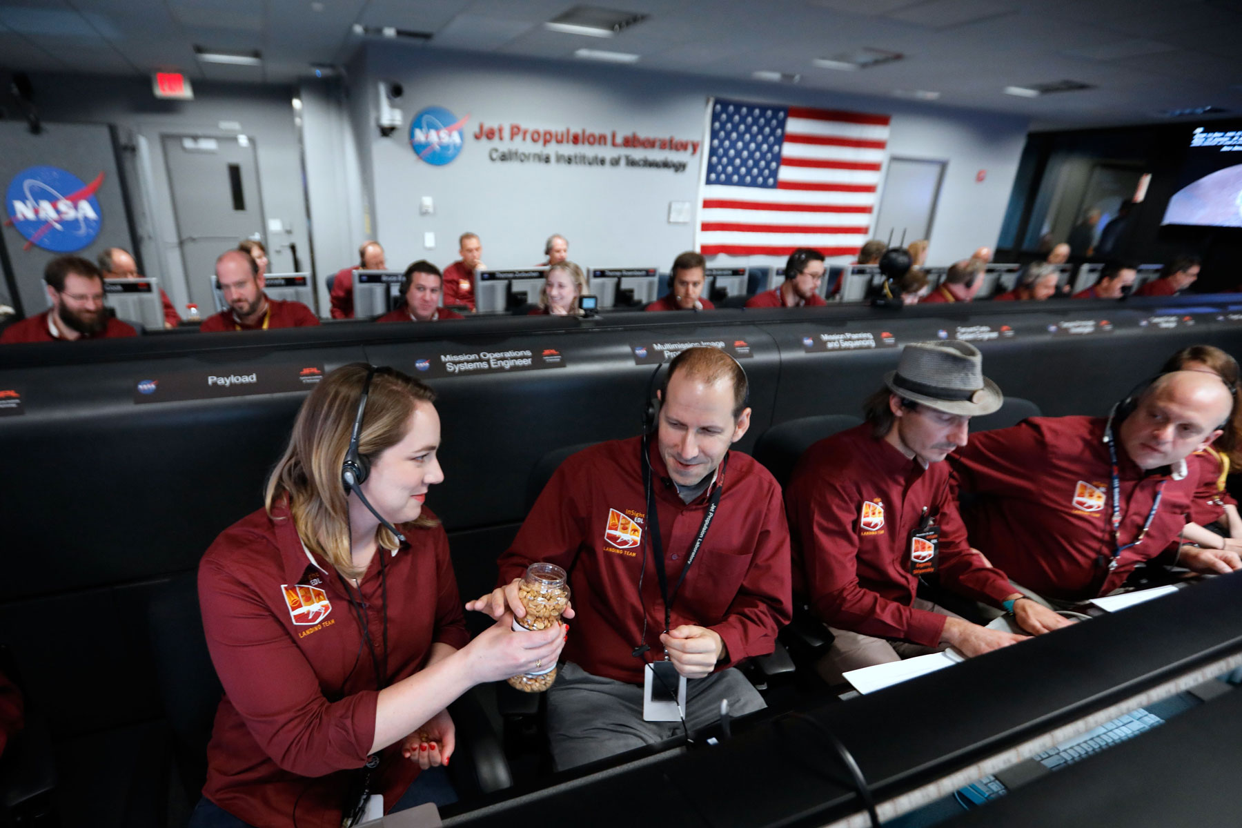 NASA engineers share peanuts as a good luck tradition