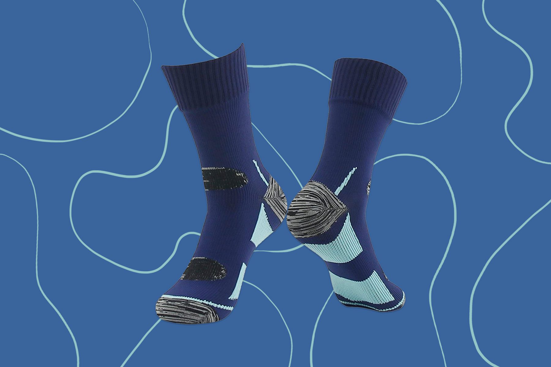 Blue mid calf waterproof socks