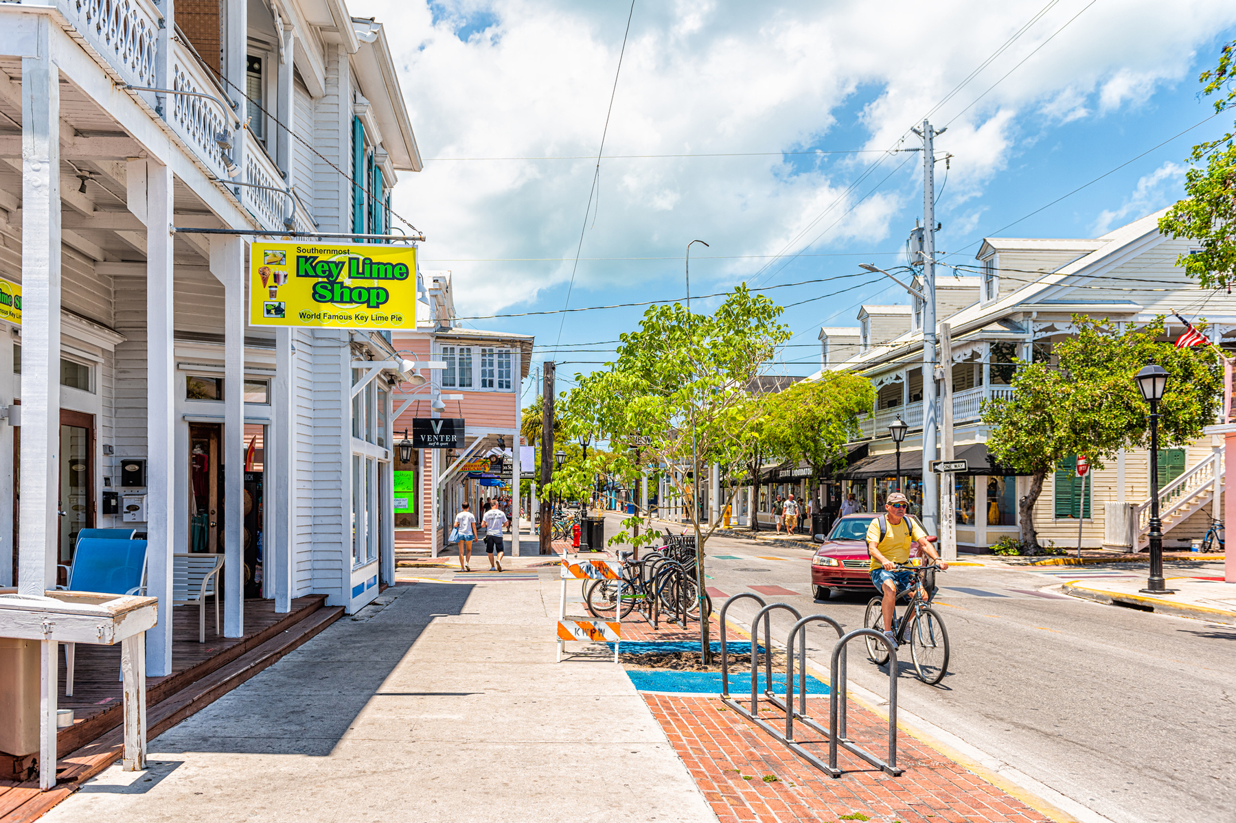 Key West street by key lime pie shop store cafe or restaurant in Florida keys city on sunny summer day