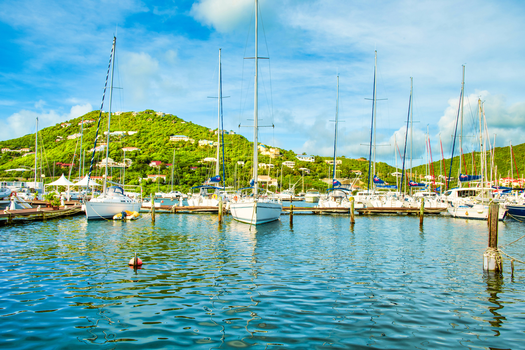 An image of a marina early in the morning at St Martin, the French side of this Caribbean island.