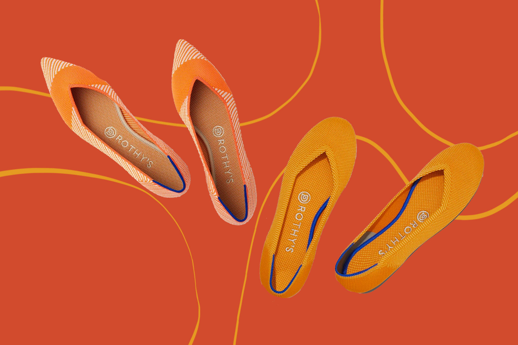 Various orange and mustard yellow ballet flats