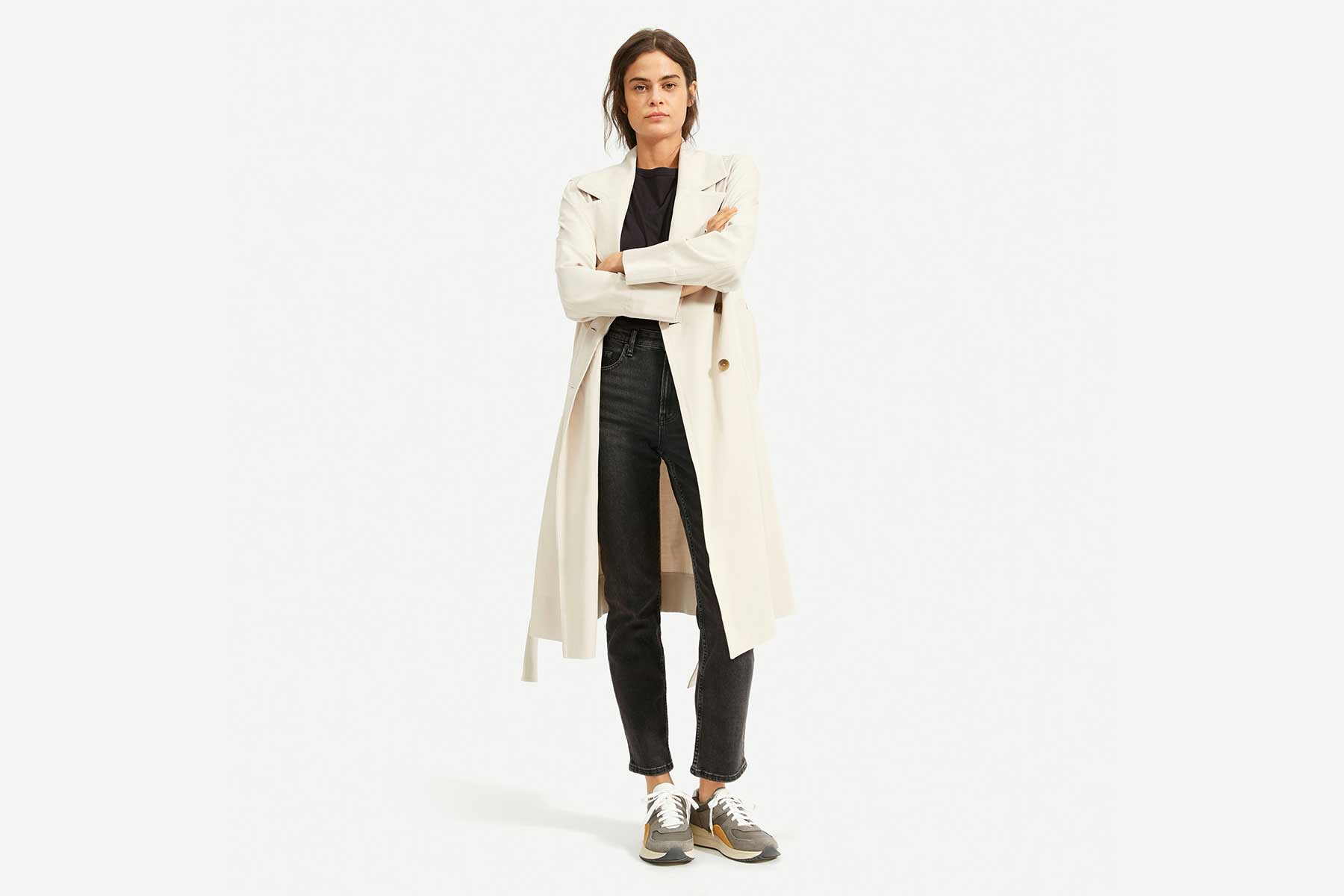 Everlane The Drape Trench in sandstone