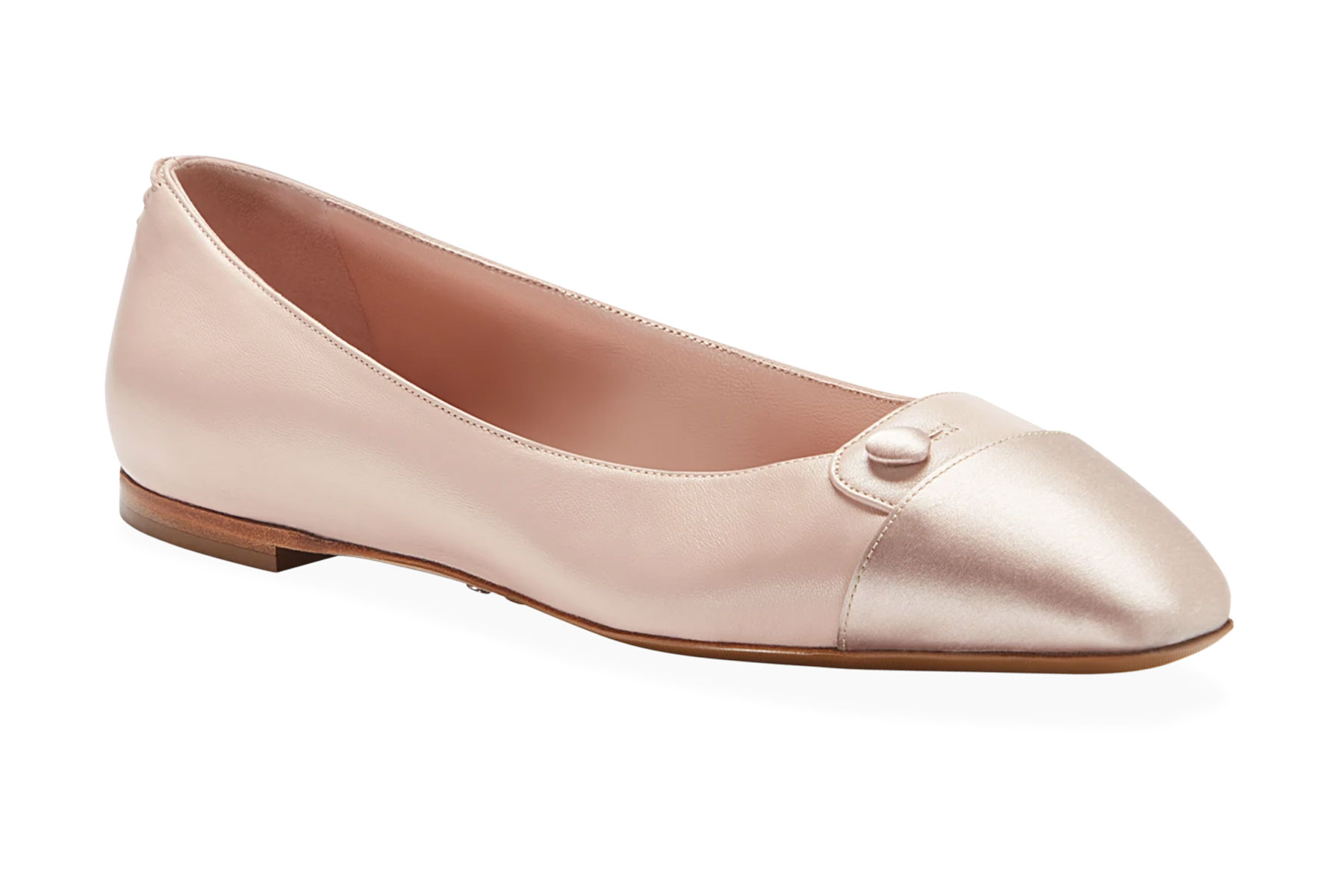 Pink leather ballet flats