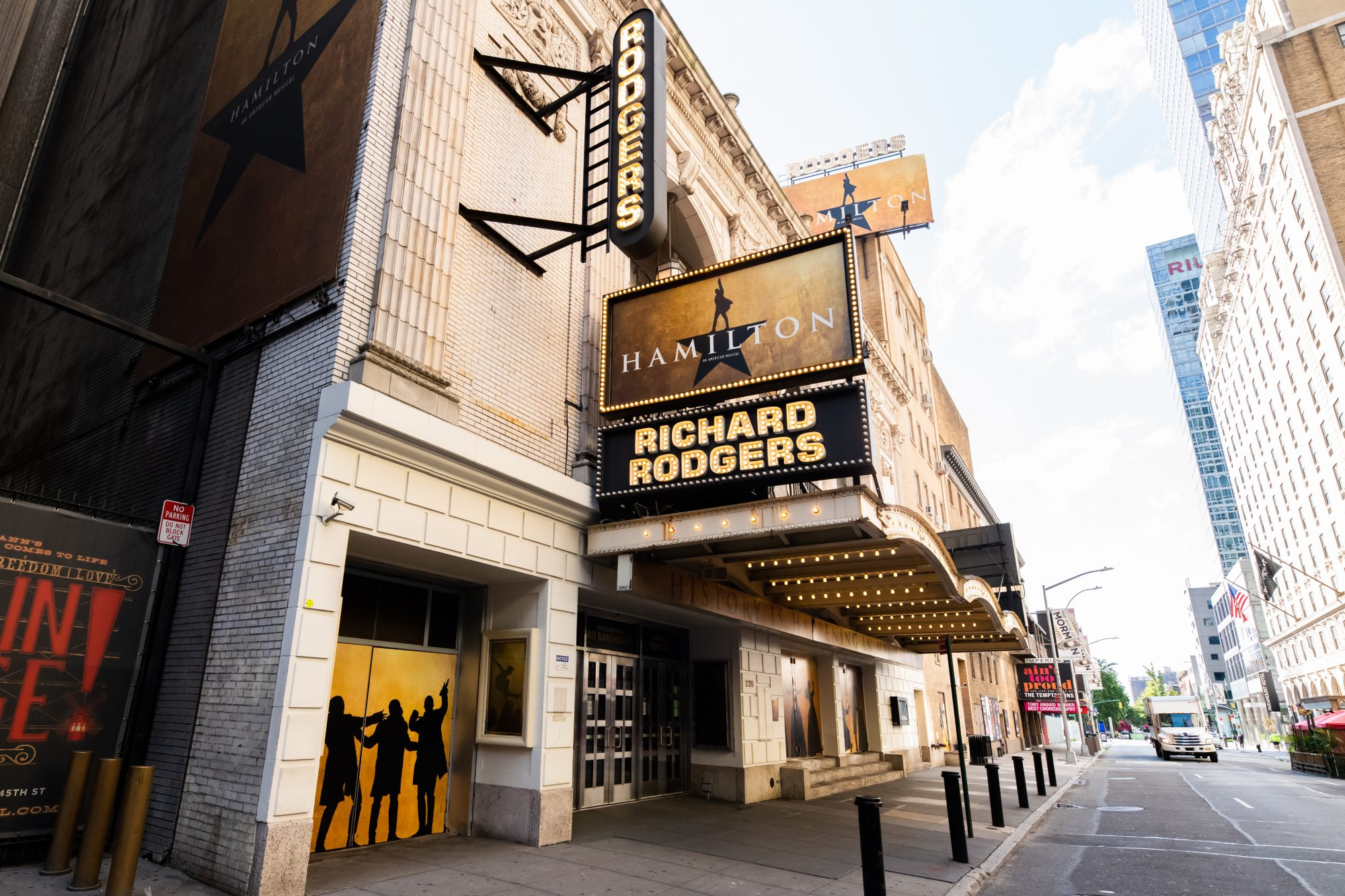 Marquee at Hamilton: An American Musical at the Richard Rodgers Theatre in Times Square