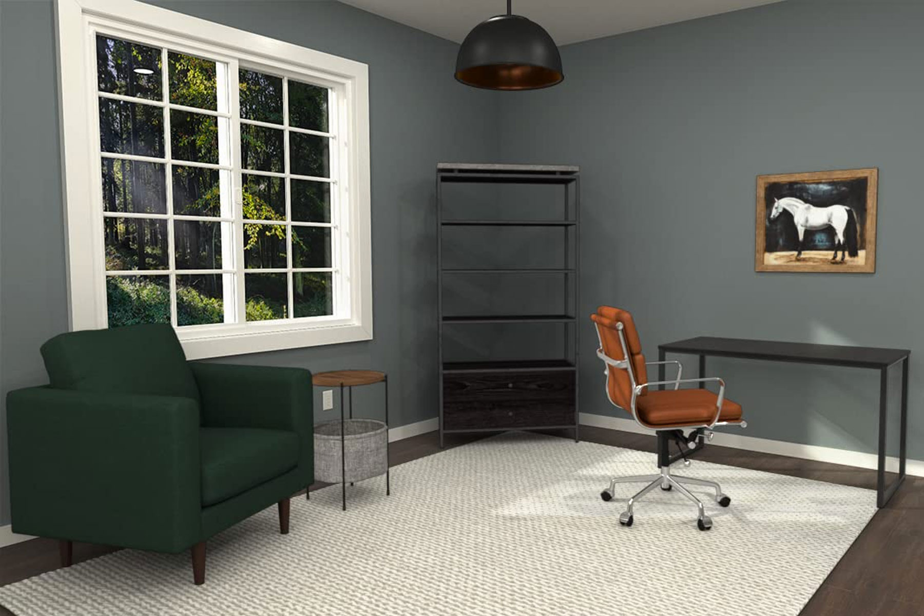 Home office with desk, desk chair, accent chair, shelves