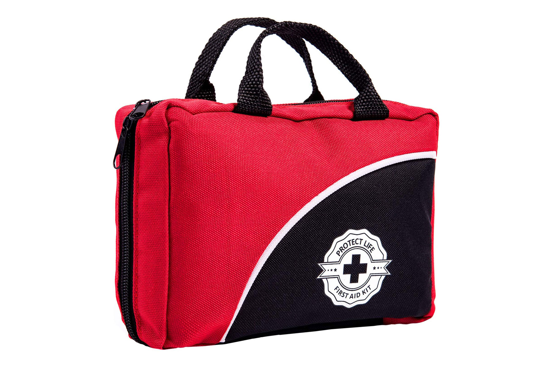 Red and black first aid kit bag