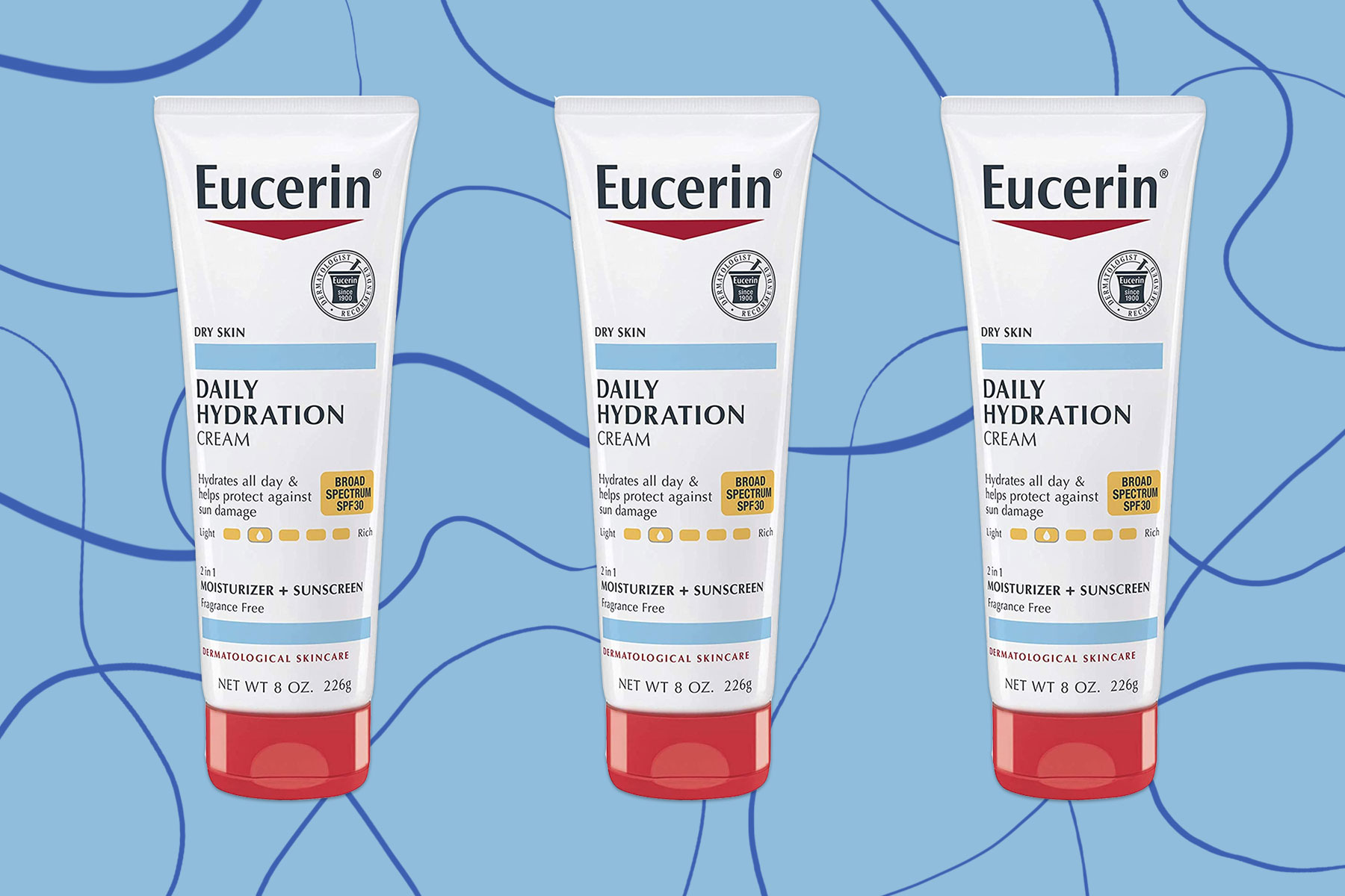 White, blue, and red tube of sunscreen