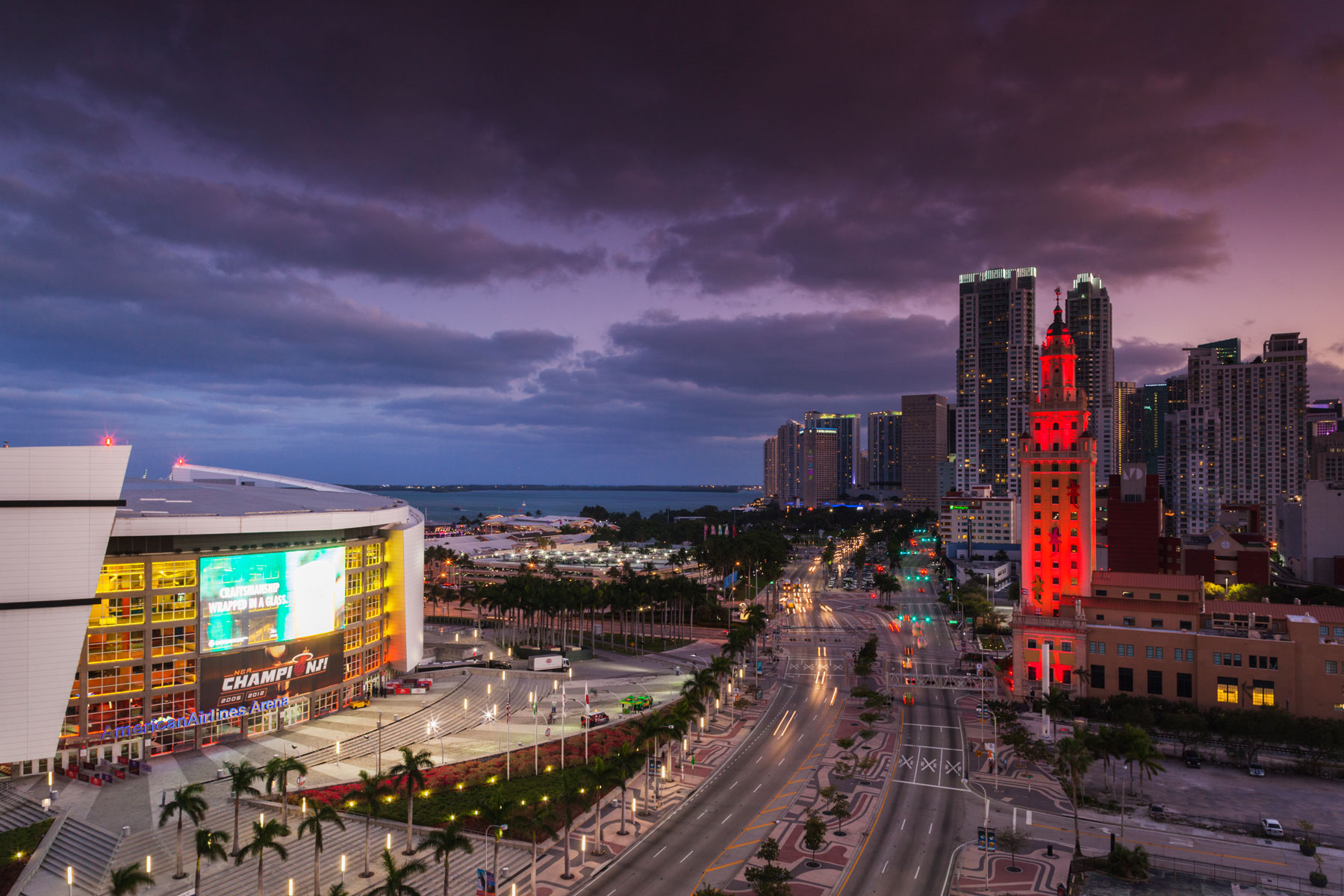elevated city view of Freedom Tower and American Airlines Arena in Miami, Florida