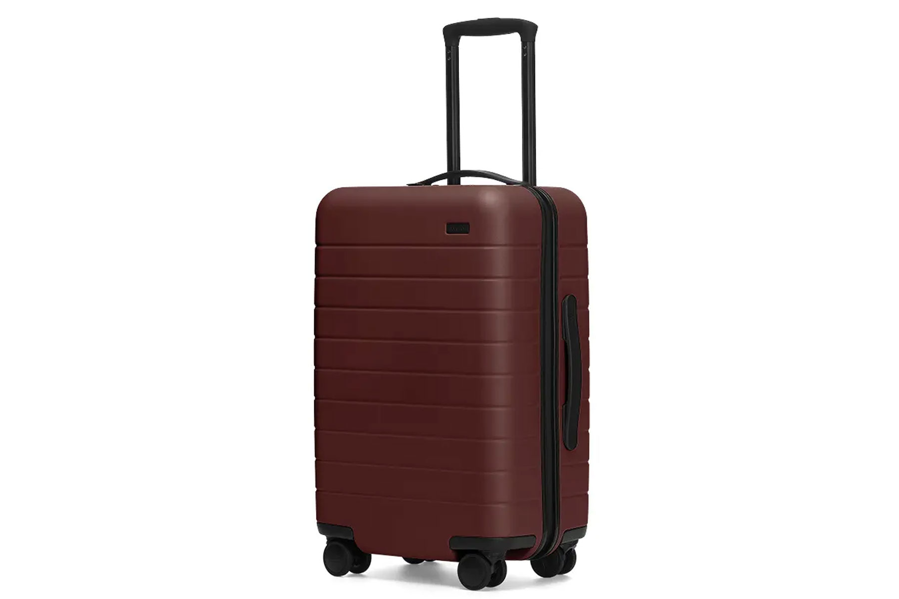 Dark red hardside suitcase