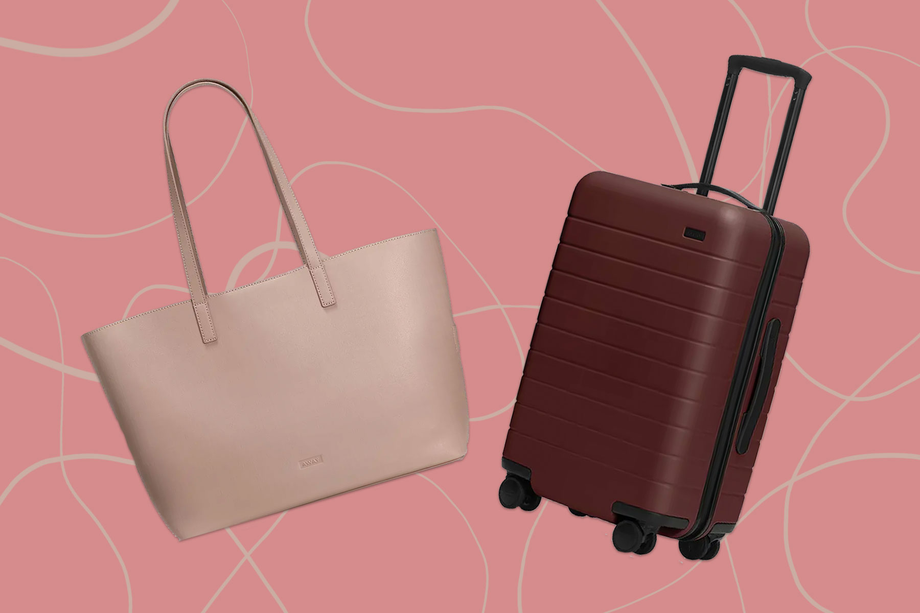 Light pink leather tote and dark red hardside suitcase