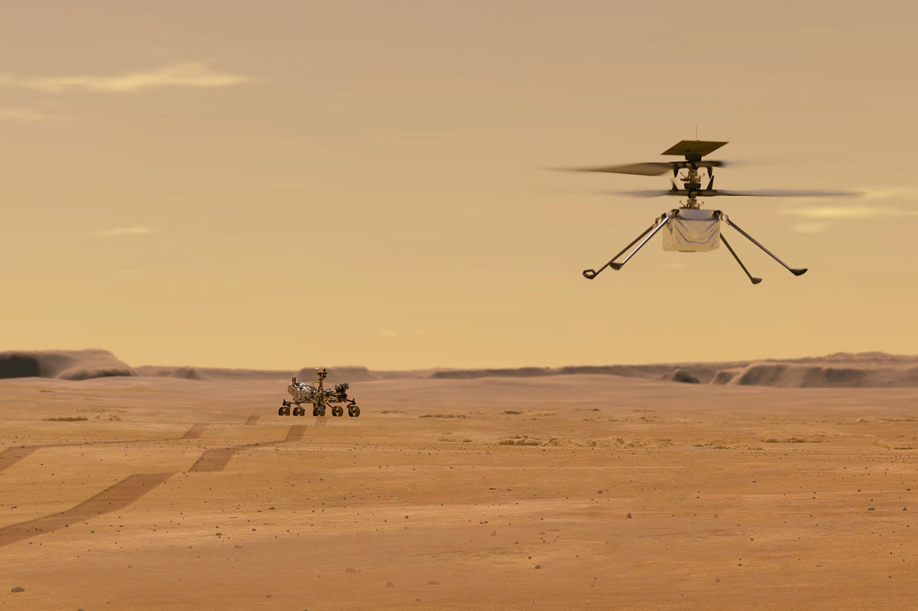 illustration depicting Mars Helicopter Ingenuity during a test flight on Mars