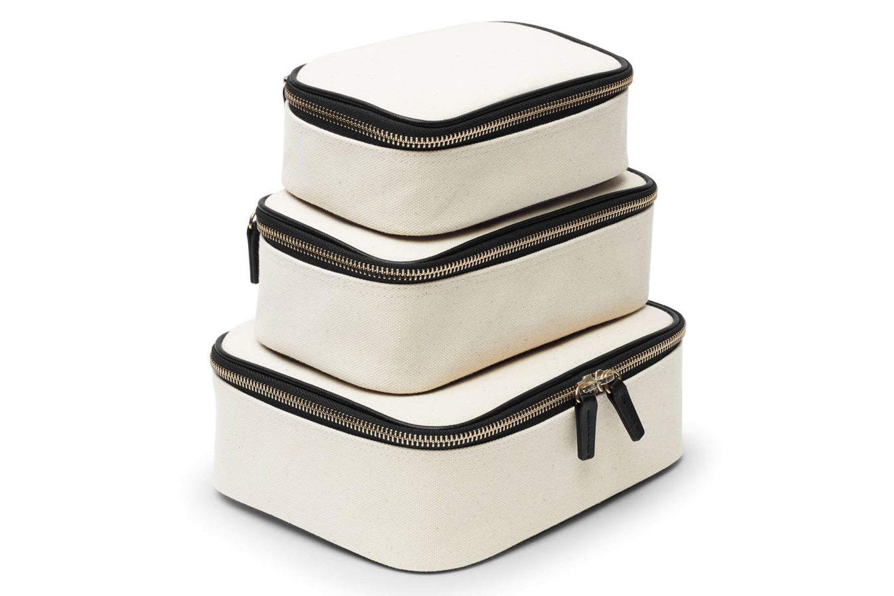 Canvas and leather zippered travel organizers