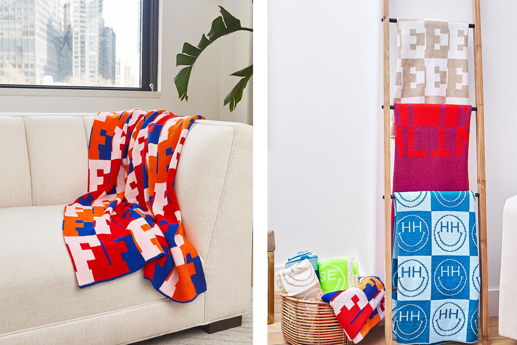 Colorful throw blankets