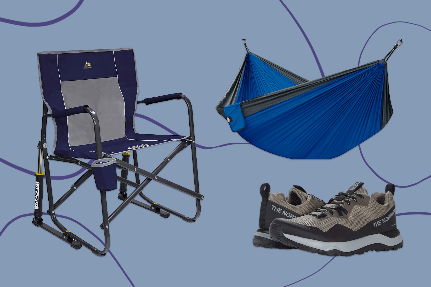 Camping chair, hammock, and hiking shoes