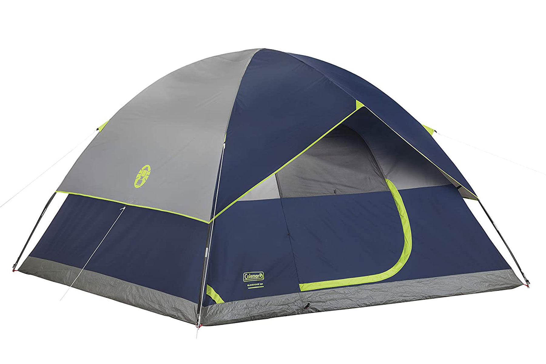 Navy and green camping tent