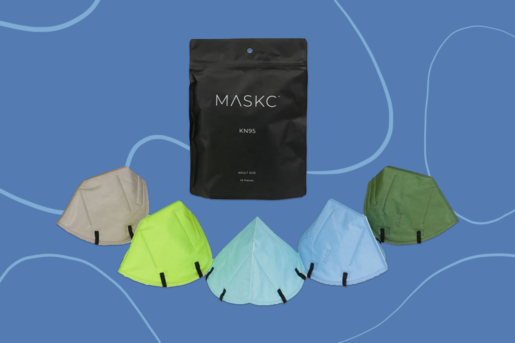 Five different colors of KN95 face masks and bag