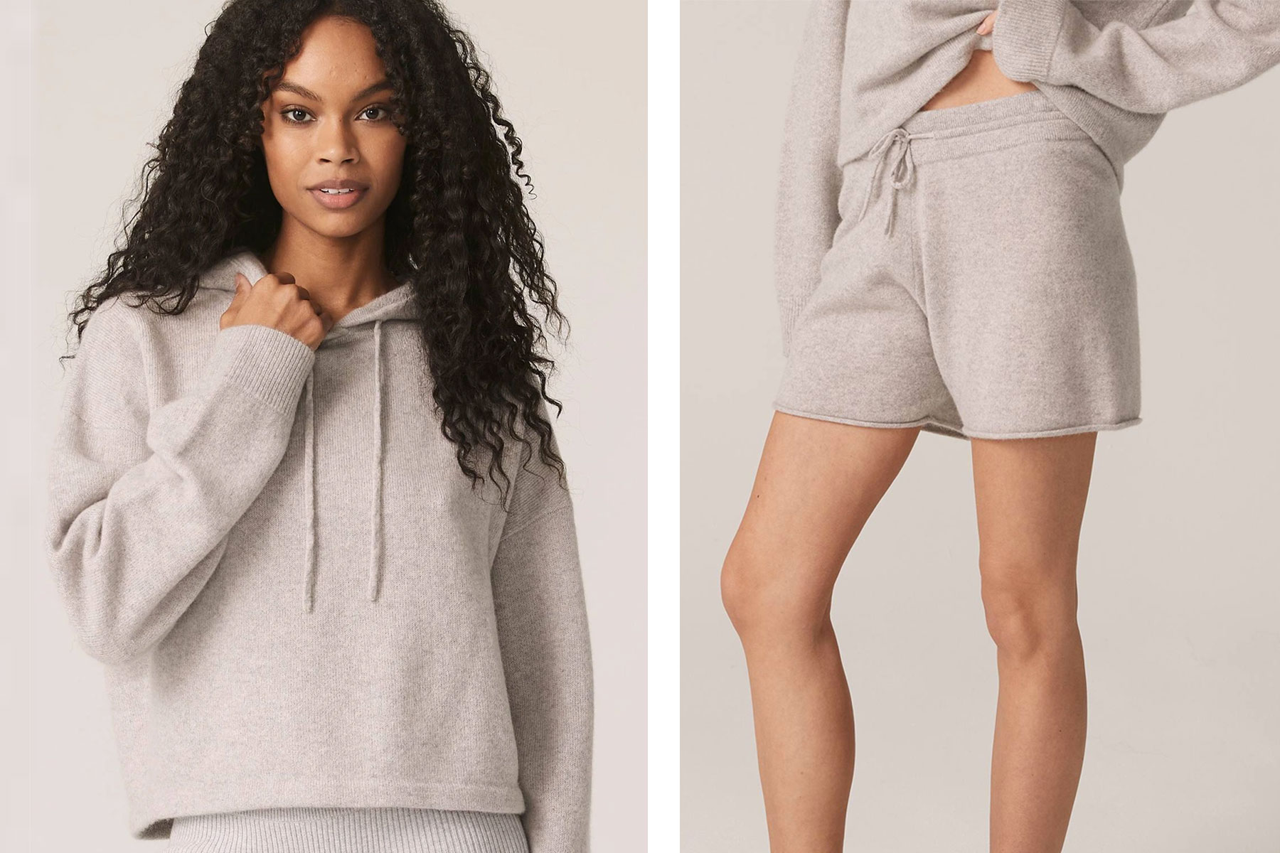 Woman wearing grey cashmere hoodie and shorts