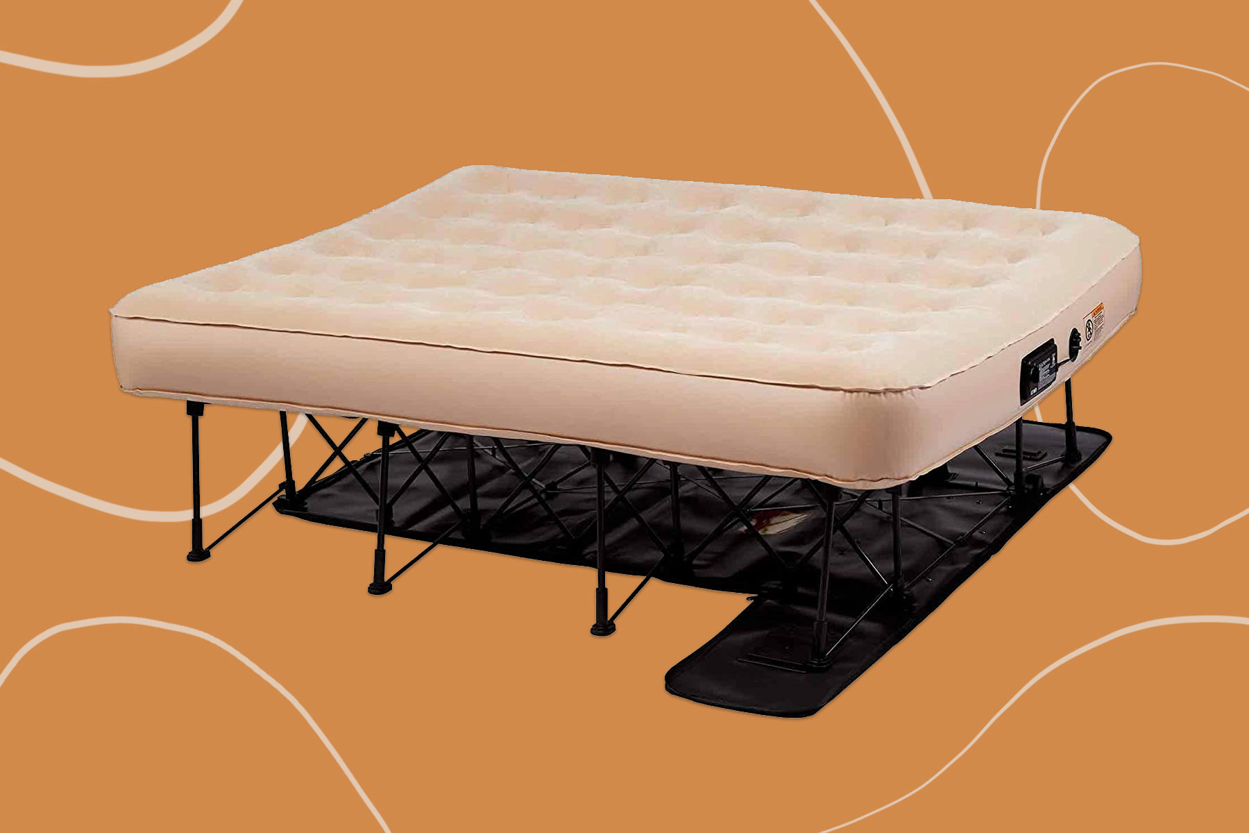 Tan self inflating air mattress with bed frame